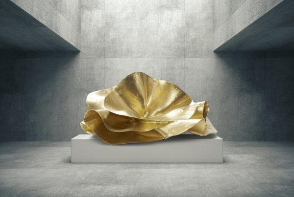 goldene Skulptur aus Carbon und Fiberglas_Abstrakte Kunst | Nonos