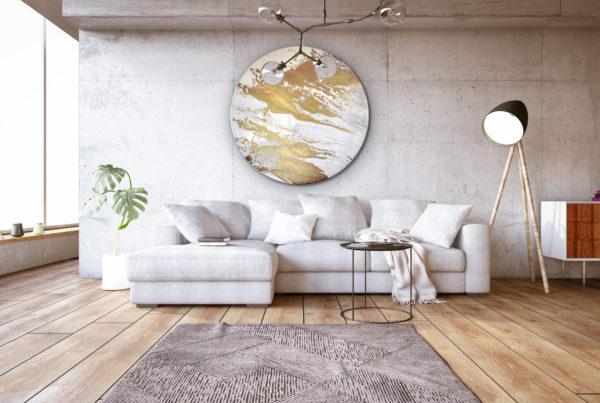 Wandobjekt_rund_weiß, gold_abstrakte Kunst_Beispielbild | Nonos