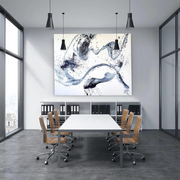 Leinwandbild_abstrakte Kunst_weiß, schwarz_interior design | Nonos