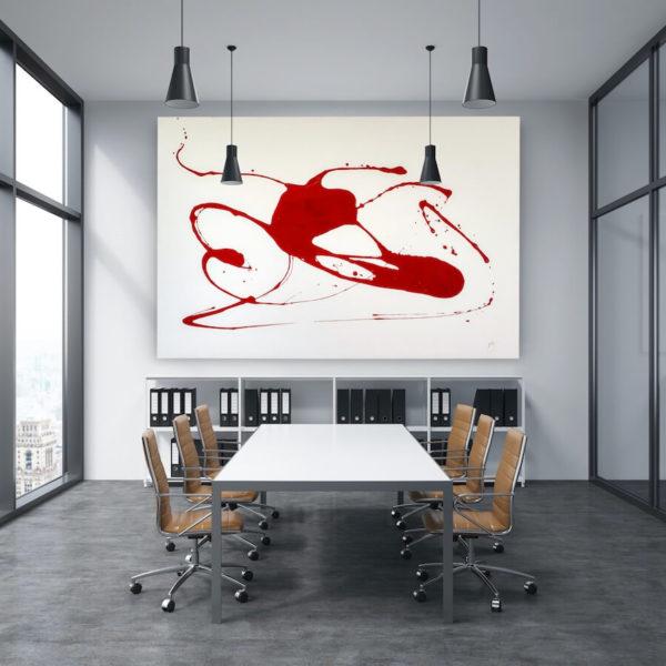 Leinwandbild_abstrakte Kunst_weiß, rot_interior design | Nonos