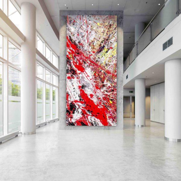 Leinwandbild_abstrakte Kunst_weiß, gelb, schwarz, rot_interior design | Nonos
