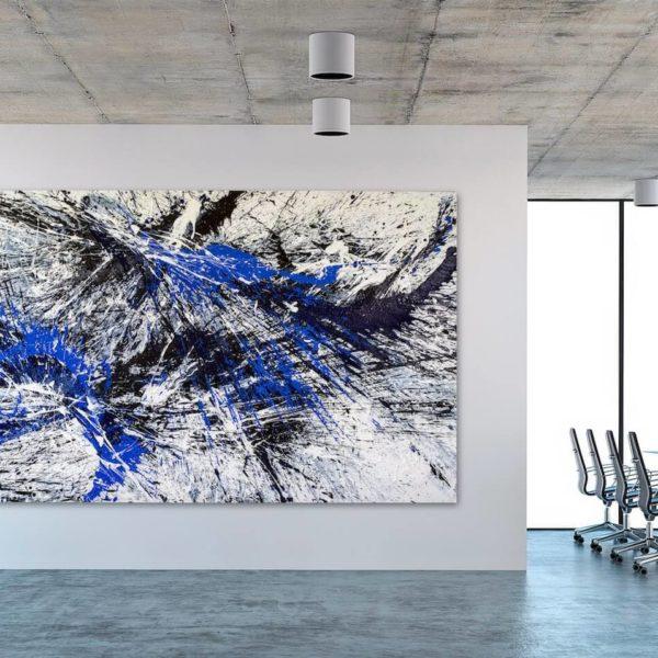 Leinwandbild im Office_abstrakte Kunst_blau, weiß, schwarz_interior design | Nonos