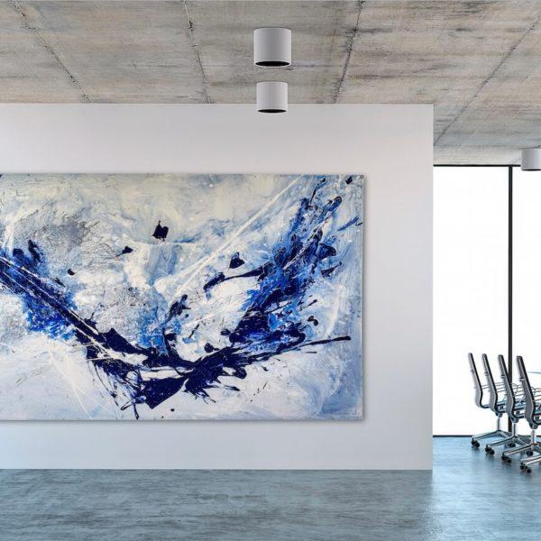 Leinwandbild im Office_abstrakte Kunst_blau, weiß_interior design | Nonos