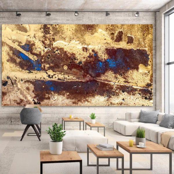 Leinwandbild im Wartebereich_abstrakte Kunst_blau, braun_interior design | Nonos