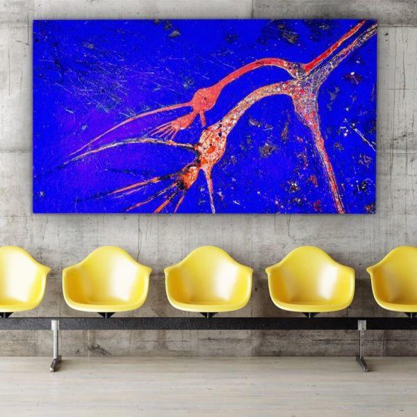 Leinwandbild im Wartebereich_abstrakte Kunst_blau, rot_interior design | Nonos
