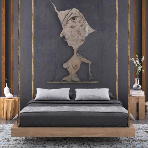 Abstraktes Kunstwerk_Zeichnung im Schlafzimmer_Raritäten | Nonos