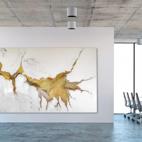 Leinwandbild im Office_abstrakte Kunst_gold, weiß_interior design | Nonos