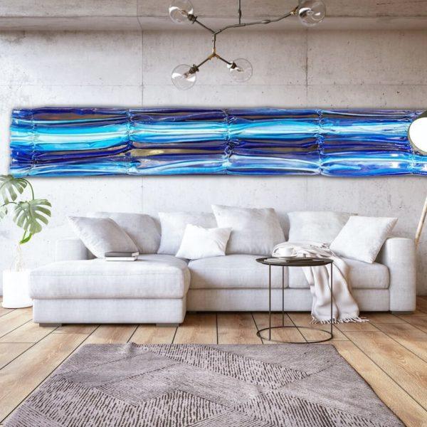abstraktes Wandobjekt aus Fiberglas_blaues Wandrelief_Interior Design | Nonos