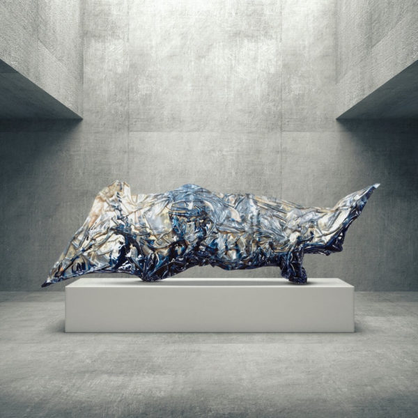 abstrakte Kunst_blaues, goldenes Kunstobjekt_Interior Design | Nonos