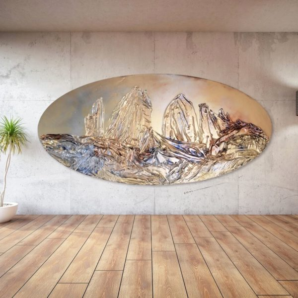 abstraktes, ovales Wandobjekt aus Fiberglas_goldenes Wandrelief_Interior Design | Nonos