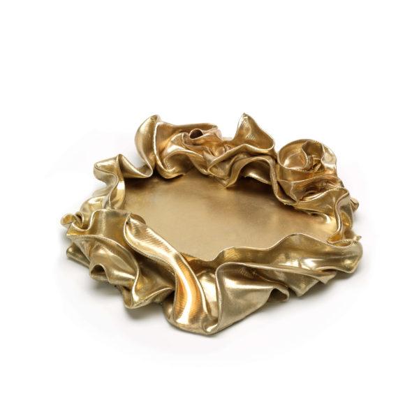 abstrakte, runde Schale aus Fiberglas_goldenes Kunstobjekt_Interior Design | Nonos