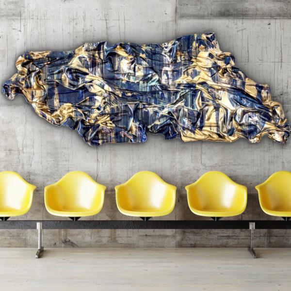abstraktes Wandobjekt im Wartebereich_gold, blau_Interior Design | Nonos