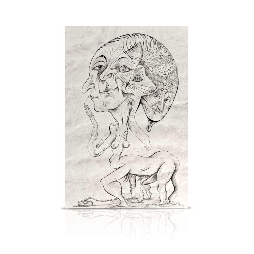 abstrakte Kunst_schwarz, weiße Zeichnung_Raritäten | Nonos