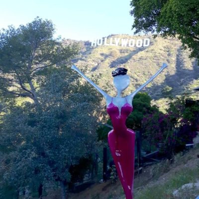 Hollywood sign in Hollywood Hills , nonos Skulptur