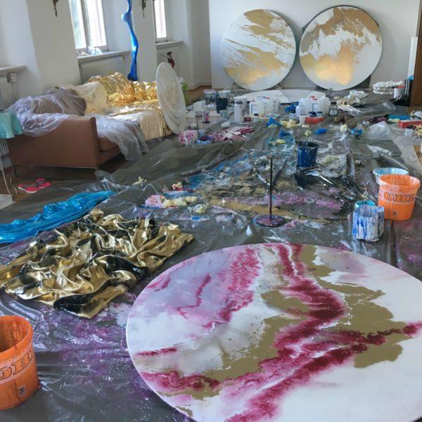 Malen mit Harz und Pigmente