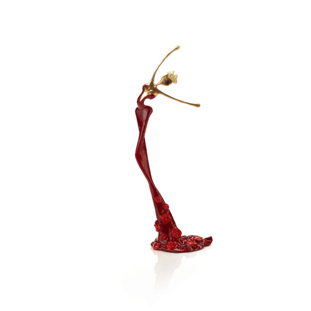 rote, goldene, weibliche Bronzeskulptur_Michelle_Interior Design | Nonos