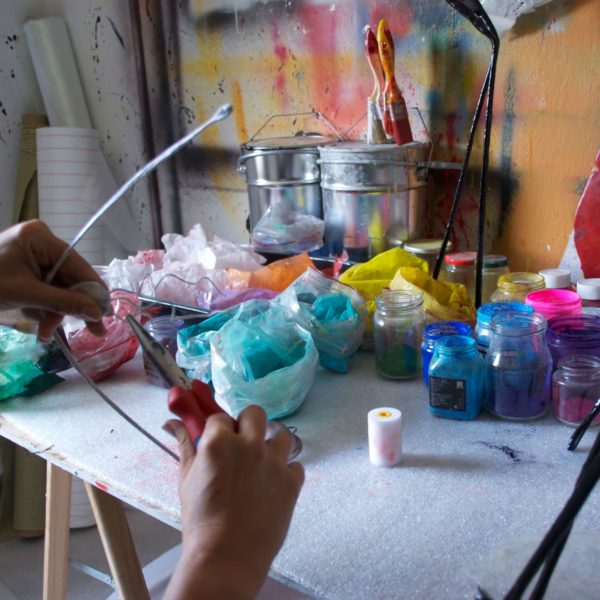 Pigmente im Atelier