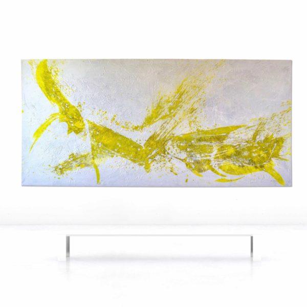 Leinwandbild_abstrakte Kunst_weiß, gelb_interior design | Nonos