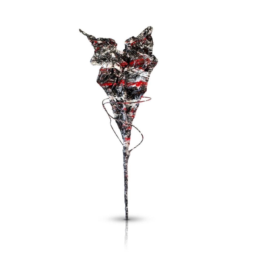 schwarz, weiß, rotes Herz aus Metall, Carbon und Epoxydharz_Abstrakt   Nonos