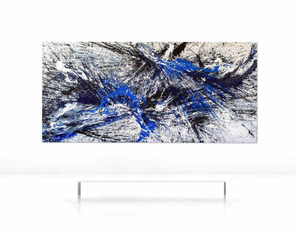 Leinwandbild_abstrakte Kunst_shwarz, weiß, blau_interior design   Nonos