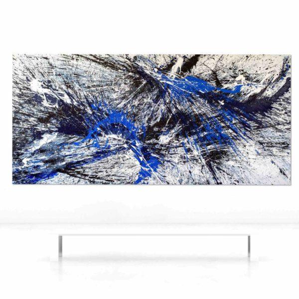 Leinwandbild_abstrakte Kunst_shwarz, weiß, blau_interior design | Nonos