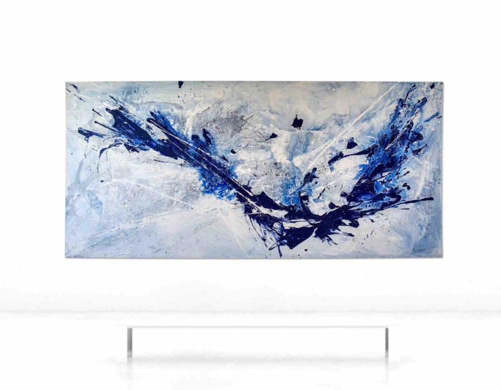 Leinwandbild_abstrakte Kunst_weiß, blau_interior design   Nonos