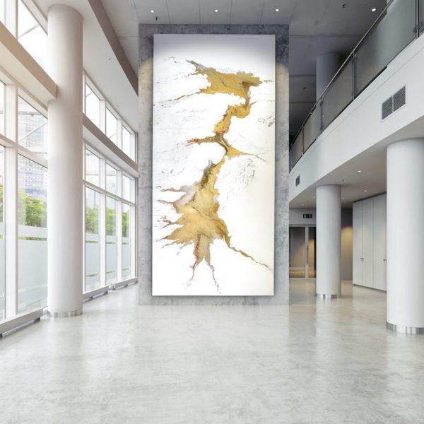 Leinwandbild_abstrakte Kunst_weiß, gold_interior design | Nonos