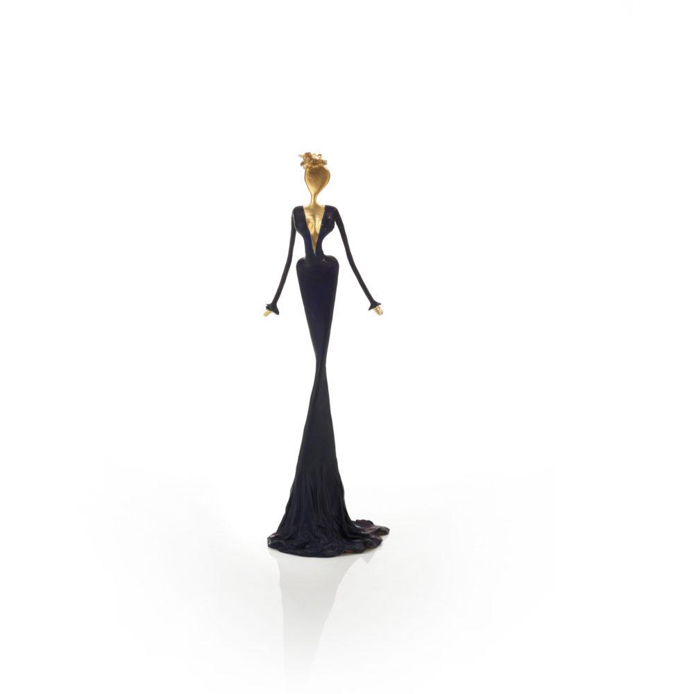 schwarz, goldene, weibliche Bronzeskulptur_Christelle_Interior Design | Nonos