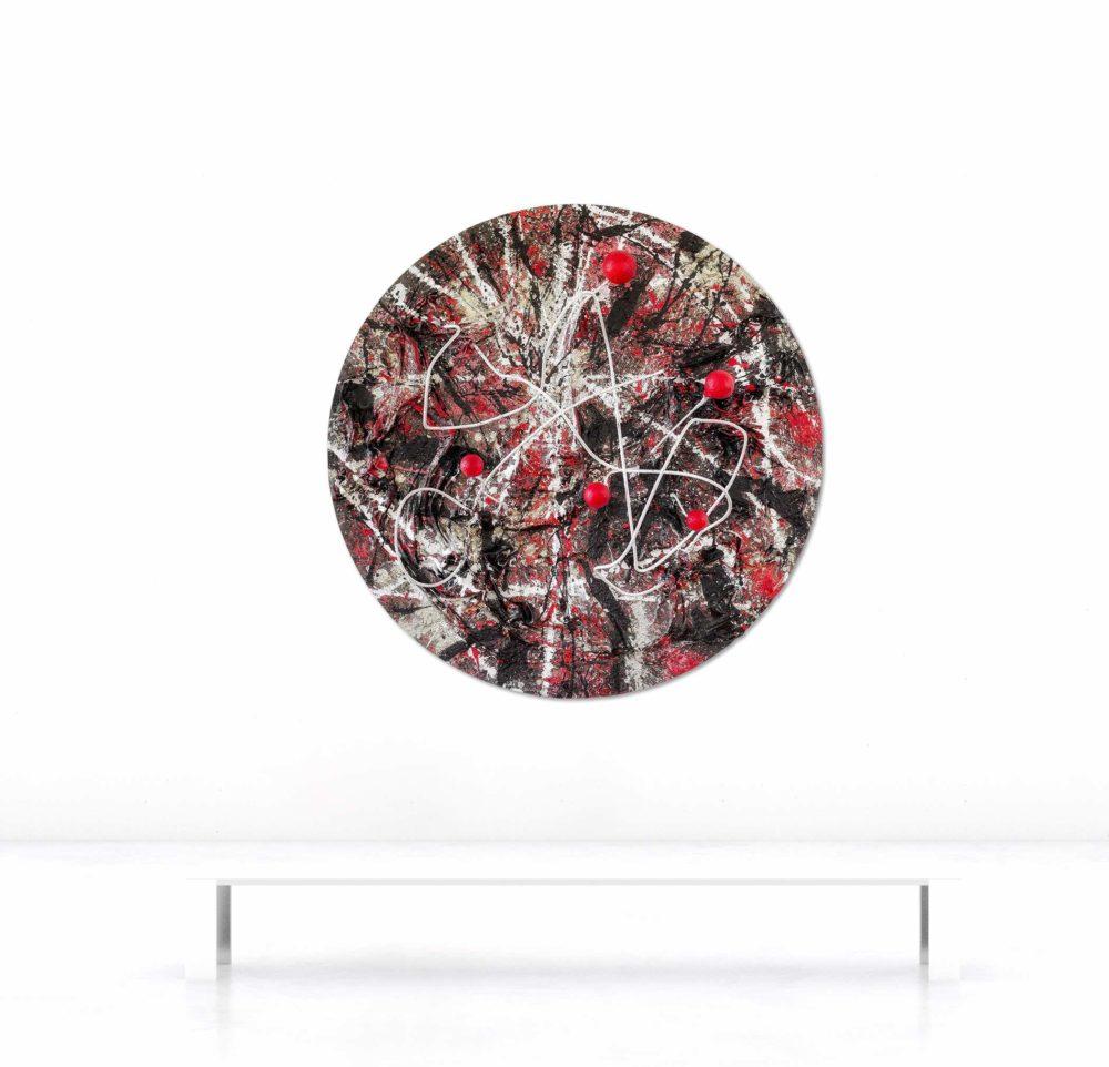 Wandobjekt_rund_schwarz, weiß, rot_abstrakte Kunst_Beispielbild   Nonos