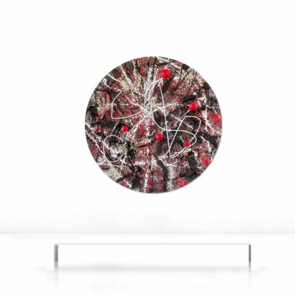 Wandobjekt_rund_schwarz, weiß, rot_abstrakte Kunst_Beispielbild | Nonos