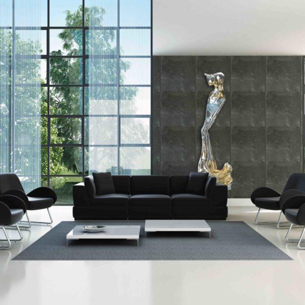 silber, goldenes Kleid aus Karbon und Harz_Carbon Couture_Interior Design | Nonos