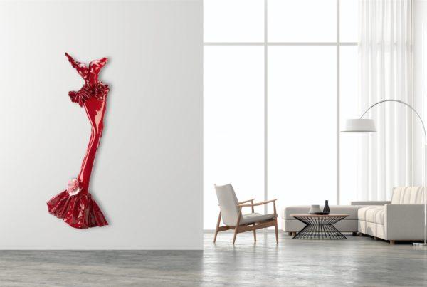 rotes Kleid aus Karbon und Harz_carbon couture    Nonos