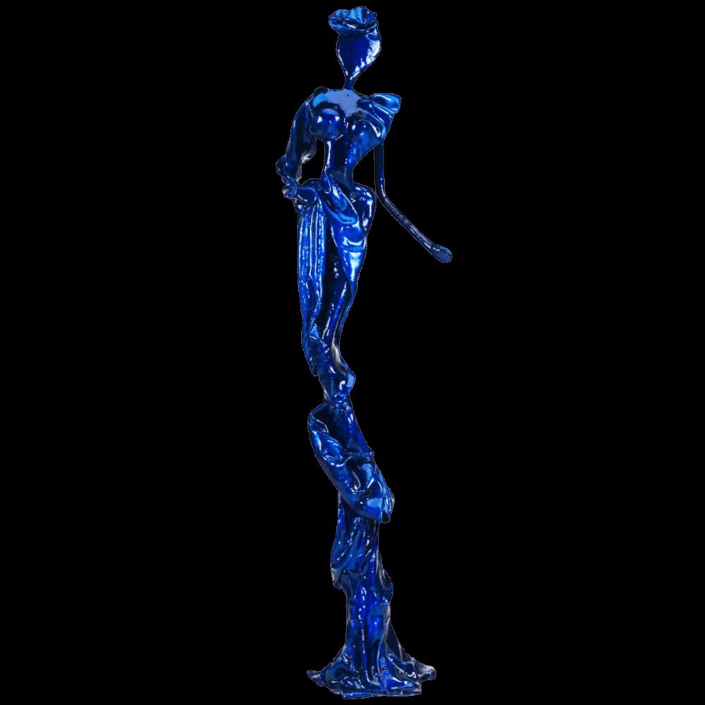 blaue weibliche Bronzeskulptur_Saphira_Interior Design   Nonos