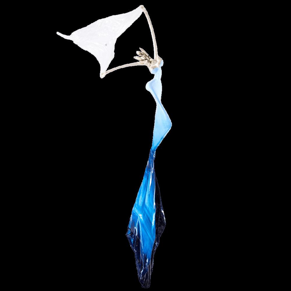 blau, weiße, weibliche Bronzeskulptur_Syrinx_Interior Design   Nonos
