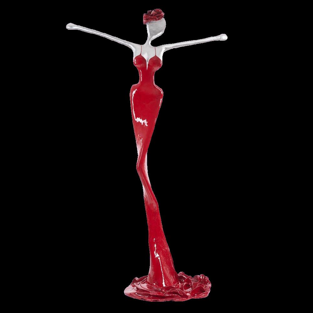 rot, weiße, weibliche Bronzeskulptur_Theresa_Interior Design   Nonos